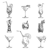 Fototapety Vector hand drawn set of cocktails and alcohol drinks