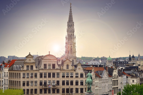 Cityscape of Brussels during sunset