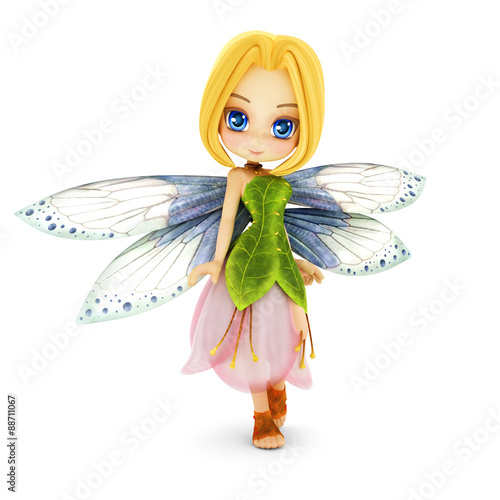 Cute toon fairy with wings smiling on a white isolated background. Part of a little fairy series. - 88711067