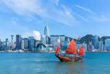 Fototapety Hong Kong harbour with junk boat