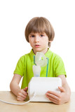 Little child with nebulizer isolated on white background poster