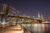 Panoramic View Manhattan Skyline and Brooklyn Bridge