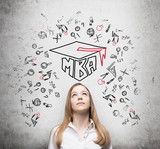 Young lady is thinking about MBA degree. Drawn a graduation hat and the range of educational icons on the concrete background . poster