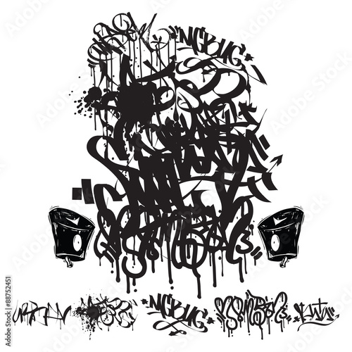 Plagát, Obraz Vector Graffiti Tags - writing