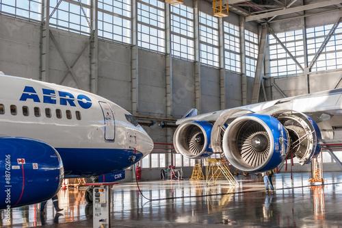 mata magnetyczna Passenger aircraft in the hangar