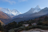 Mountains peaks morning fog, Tengboche village, Nepal.