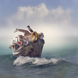 Animals in a Boat - 88829043