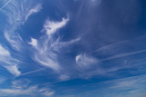Daytime sky with cirrus and stratus clouds