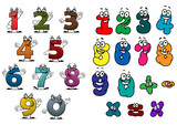 Fototapety Cartoon colorful numbers and digits
