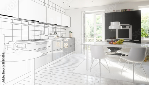 Cute designed kitchen (project)