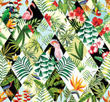 tropical patchwork seamless background - 88842609