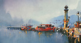 Fototapety fishing boat in harbor at morning,watercolor painting style