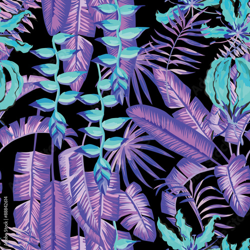 blue palm leaves and flowers painting tropical pattern