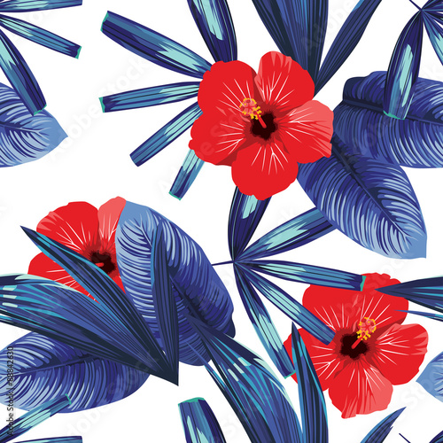 red hibiscus and blue palm leaves trendy pattern