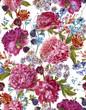 Постер, плакат: Watercolor Seamless Pattern with Burgundy Peonies