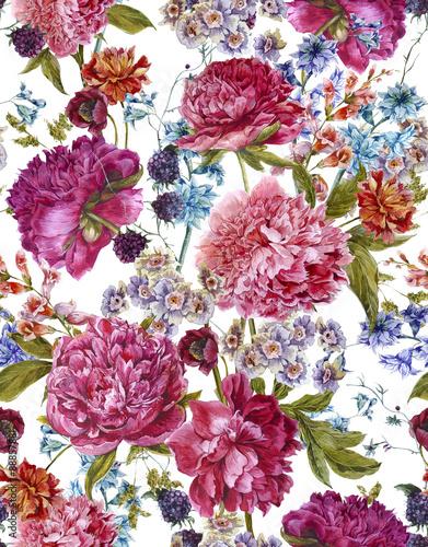 Fototapeta Watercolor Seamless Pattern with Burgundy Peonies