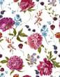 Obrazy na płótnie, fototapety, zdjęcia, fotoobrazy drukowane : Watercolor Seamless Pattern with Burgundy Peonies in Vintage