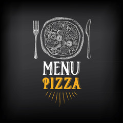 Pizza menu restaurant badges. Food design template.