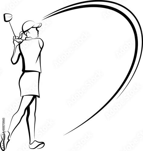 Fototapeta Woman Golfer Teeing Off Stylized