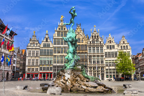 Foto op Canvas Antwerpen Traditional flemish architecture in Belgium - Antwerpen city