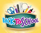 Fototapety 3D Realistic Back to School Title Poster Design in a Blackboard