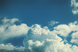 Sky with fluffy cumulus clouds