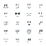 Fototapety Set of hand drawn funny smiley faces. Sketched facial expression