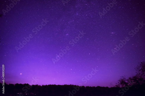 Beautiful purple night sky with many stars - 88930289