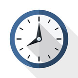 Wall clock icon with long shadow on white background