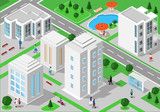 Fototapety Isometric landscape with people, city buildings, roads, parks, hotels and swimming pool. Set of detailed city buildings. 3d isometric people