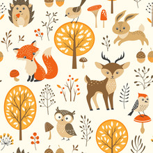 Autumn forest seamless pattern with cute animals