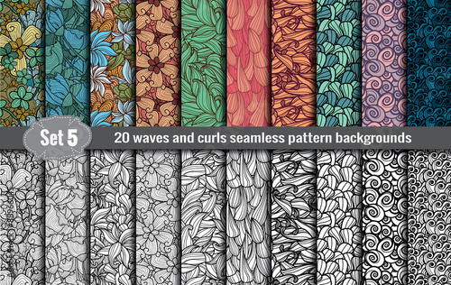 waves and curls seamless pattern.Pattern swatches included for illustrator user, pattern swatches included in file, for your convenient use.