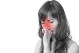 woman with cold or flu, running nose, white isolated background