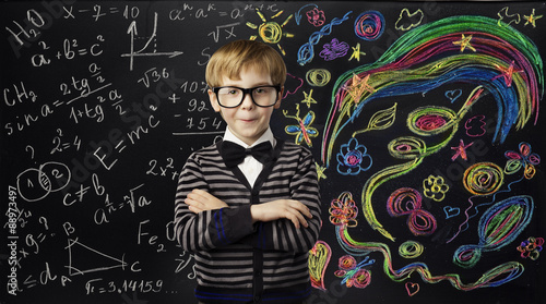 Kid Creativity Education Concept, Child Learning Art Mathematics formula Formula