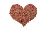 Red camargue rice in a heart shape