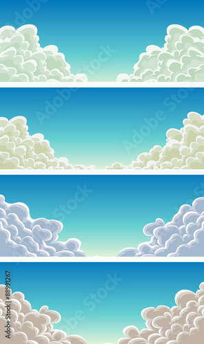 Cloudscape Set On Blue Sky Background