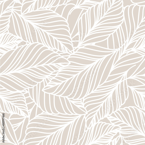 Cotton fabric Vector hand drawn doodle leaves seamless pattern. Light pastel b