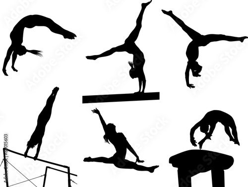 Poster Silhouettes Gymastic