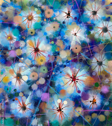 Plakat Abstract floral watercolor painting. Hand paint White flowers in soft color on blue and green color background. Spring flower seasonal nature background