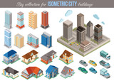 Fototapety Big collection for isometric city buildings. Set of 3d isometric