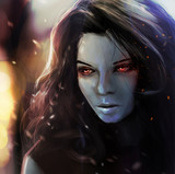 Illustration of a cute brunette fantasy girl with fire eyes.