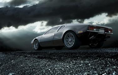 klasyczny samochód sportowy w nocy