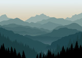 Fototapety Mountain landscape at dawn. Vector illustration.