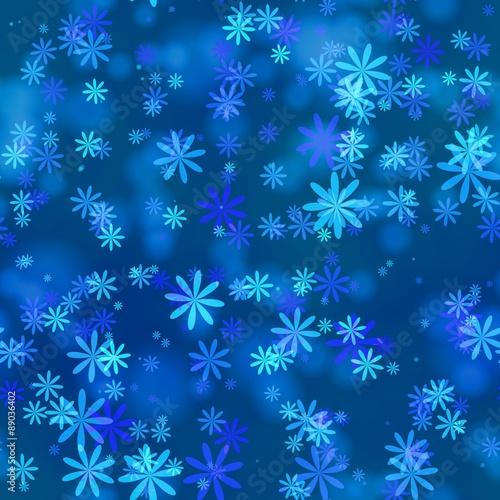 Materiał do szycia Abstract blue winter snowflake pattern.  Texture background.  Seamless illustration.