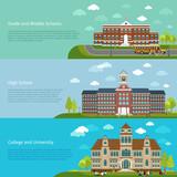 Fototapety School education, high school and university study banners