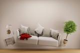 Fototapety Schwerelos schwebendes Sofa im Wohnzimmer