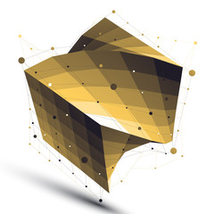 Gold squared twisted abstract 3D shape, vector digital lattice o