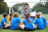 Fototapety Coach Giving Team Talk To Elementary School Soccer Team