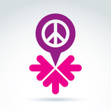 Peace propaganda icon with arrows, working and cooperation for p poster