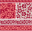 Set of floral seamless patterns. Vector illustration